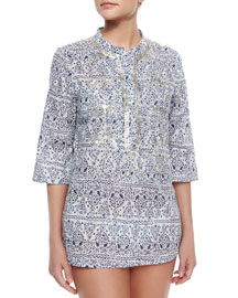 Jasmine Printed Sequined Coverup Tunic