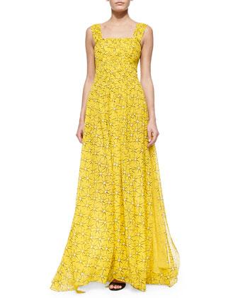 Star-Print A-Line Maxi Dress