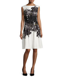 Sleeveless Embroidered Floral-Print Dress