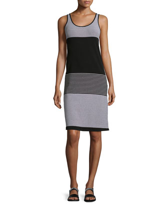 Tegano Striped Sleeveless Knit Dress