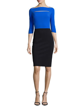 Colorblock Cocktail Dress, Cobalt/Black