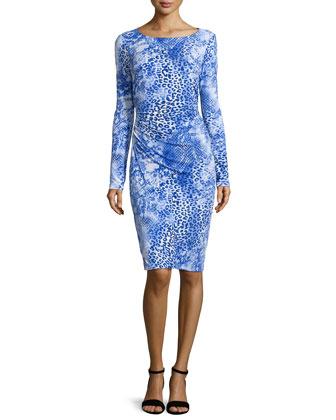 Long-Sleeve Ruched Leopard-Print Dress