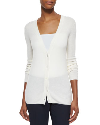 Preen Long V-Neck Merino Cardigan