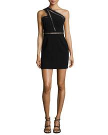 Alexa Lace-Inset One-Shoulder Dress