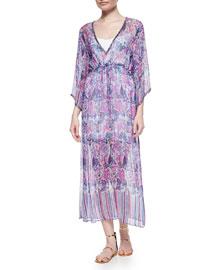 Jinerva Printed Chiffon Maxi Dress