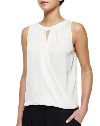 Gathered Surplice Draped Silk Top