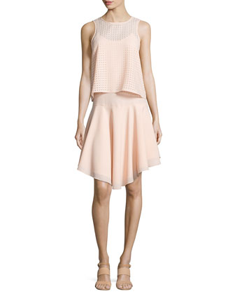 Windowpane Laser-Cut Layered Dress, Blush