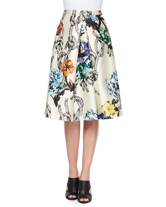 Gazaar Printed Pleated Satin Skirt