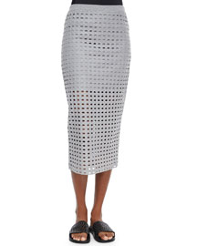 Netted Long Fitted Jersey Skirt