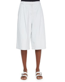 Wide-Leg Long Leather Shorts