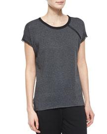 Celeste Short-Sleeve Zip-Detail Tee