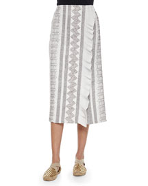 Smocked Silk Pencil Skirt