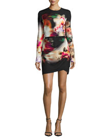 Watercolor Floral-Print Side-Draped Dress