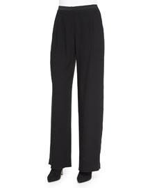 Alena Wide-Leg Pants W/ Satin Trim