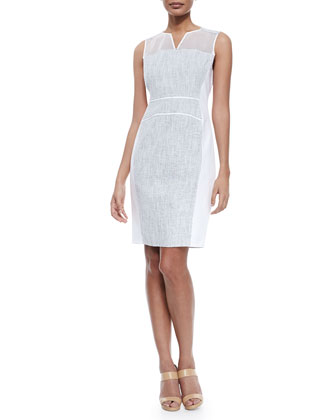 Anya Sleeveless Whitened Tweed Dress