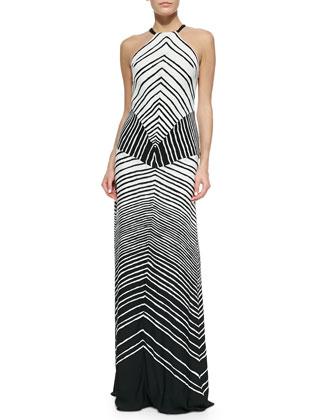 Halter Striped Maxi Dress