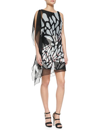 Asymmetric Flutter Print Dress