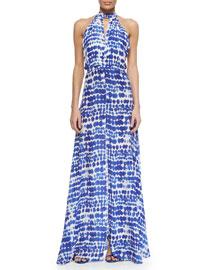 Wyatt Printed Silk Halter Maxi Dress