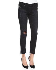 Stilt Cropped Ankle Jeans, Repurposed Black