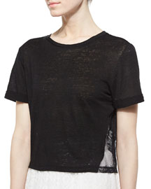 Lace-Panel Roll-Cuff Tee