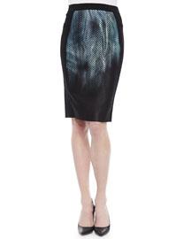 Kim Printed-Panel Pencil Skirt