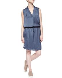 V-Neck Drawstring Dress