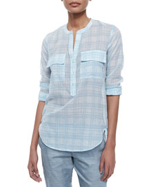 Half-Placket Plaid Cotton Blouse