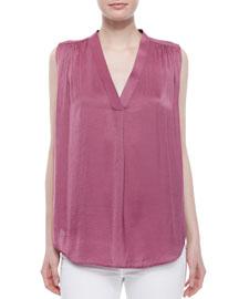 V-Neck Ruched-Shoulder Blouse