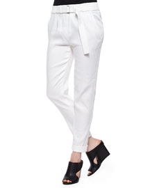 Belted Straight-Leg Linen Pants