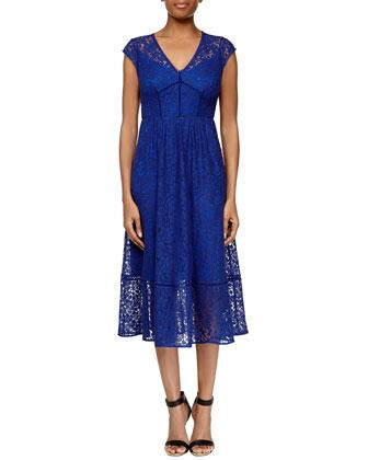 Cap-Sleeve Lace Midi Dress