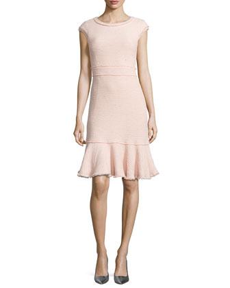 Fringe-Trim Sparkly Tweed Dress
