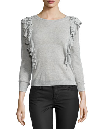 Double-Ruffle Pullover Sweater, Pale Gray
