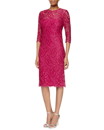 3/4-Sleeve Lace Sheath Dress, Hot Pink