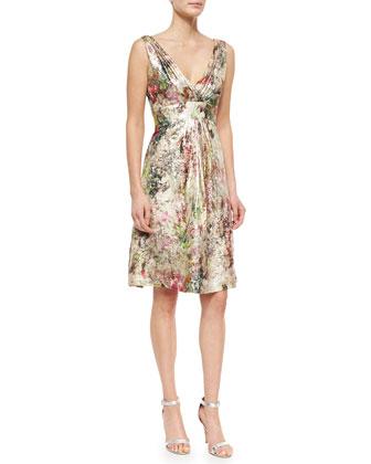 Sleeveless Metallic Jacquard Party Dress