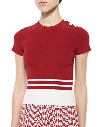 Short-Sleeve Ribbed Knit Striped Top