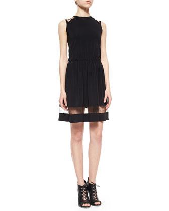 Sleeveless Jersey & Tulle Point D'Esprit Dress
