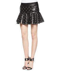 Leather Flounce Skirt with Eyelets