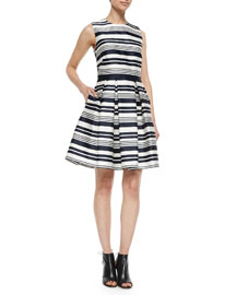 Sleeveless Striped Pleated Dress
