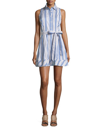 Stripe Stretch-Knit Dress, Blue/White
