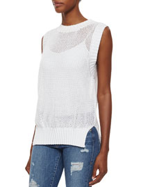 Muscle Tank Rib-Trim Sweater