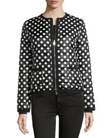 Miel Polka-Dot Puffer Jacket
