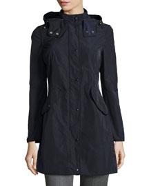 Argelia Hooded Coat, Navy