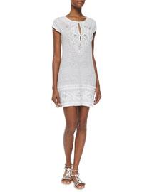 Zedna Embroidered Tunic Dress, Gray/White