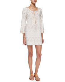 Hester Geometric-Print Tunic/Dress, Petal