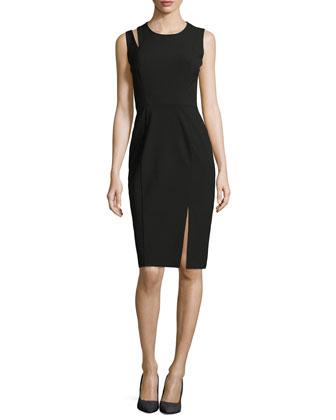 Asymmetric-Vent Stretch Cady Dress, Black