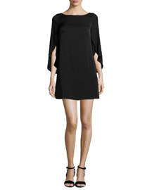 Butterfly-Sleeve Stretch-Silk Dress, Black