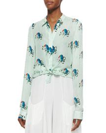 Willa Mini-Collar Button-Down Shirt