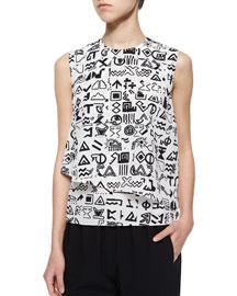 Symbols-Print Layered Crepe Top