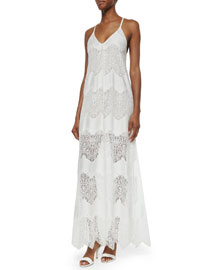 Vandy Low-Cut Lace Slip Dress, Cream