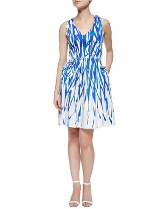Isadora A-Line Brushstroke Dress, Cobalt/White